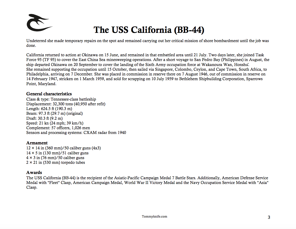 USS California Limited Edition