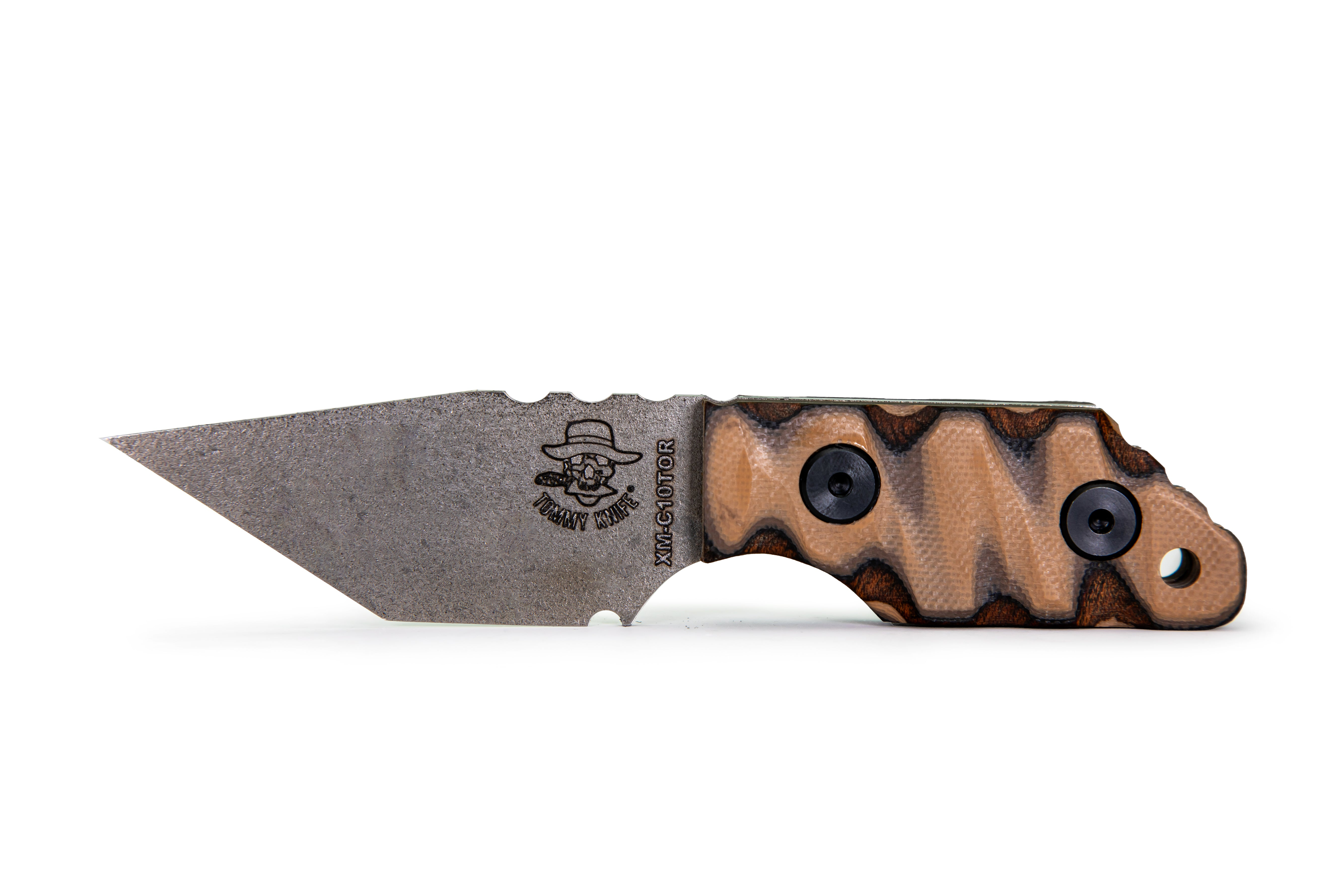 Tommy Knife® Charlie with Layered Wood & G10 Caveman Grip - Right Grind