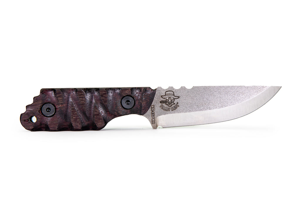 Tommy Knife® Echo with Purpleheart Wood Caveman Grip - Right Grind