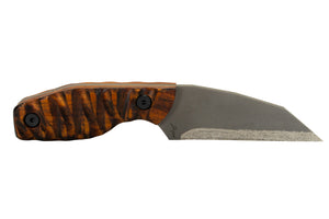 Tommy Knife® Hotel - Titanium with Wood Caveman Grip - Left Grind