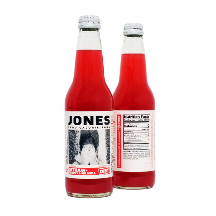 12-pack of JONES Sugar Free Strawberry Lime Soda
