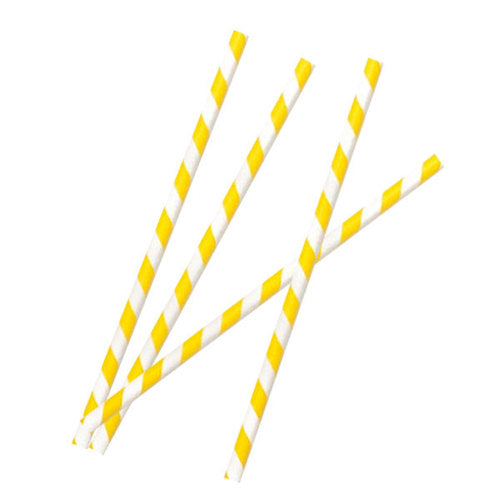 Compostable Paper Straws (Yellow/White) (25-pack)