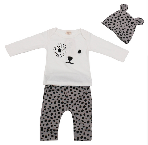 Leopard Baby Girl 3-piece set - Long sleeve T shirt + pants +hat