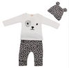 Image of Leopard Baby Girl 3-piece set - Long sleeve T shirt + pants +hat