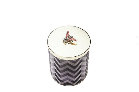 Côte Noire | Herringbone Candle with Scarf | Black | Red Bee Lid