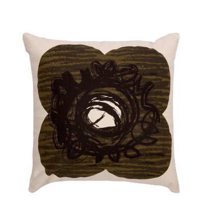 50% Off | Orla Kiely | Cushion | Textured Spot Flower | 40X40 | Nutmeg