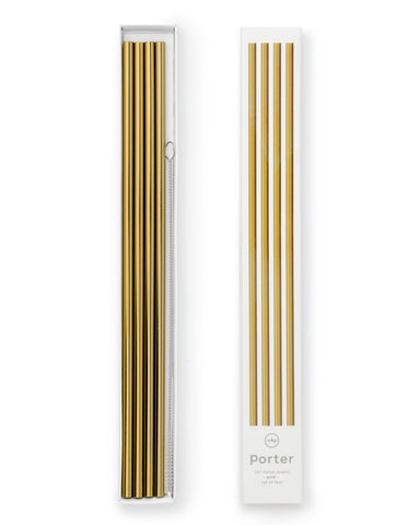Porter | Metal Straws 10in W/Cleaner (Set 4) | Gold