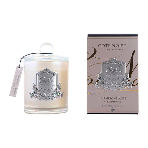 Côte Noire | 450g Silver Candle | Pink Champagne