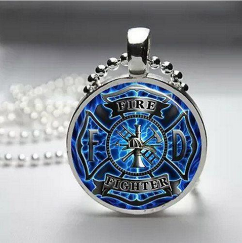 Firefighter Glass Dome Necklace