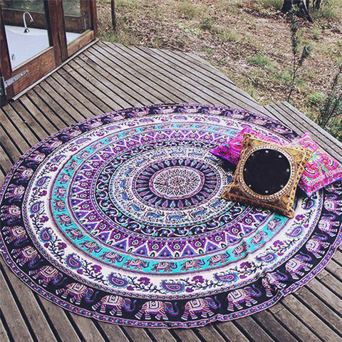 Purple Elephant Mandala Yoga/Beach Blanket