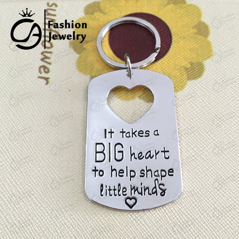 Silver Heart Teacher Appreciation Keychain