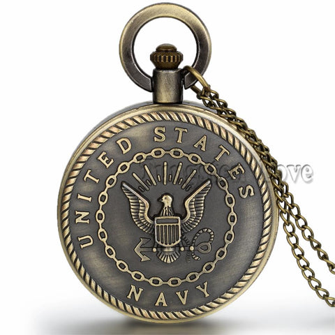 Navy Pocket Watch - Free Shipping