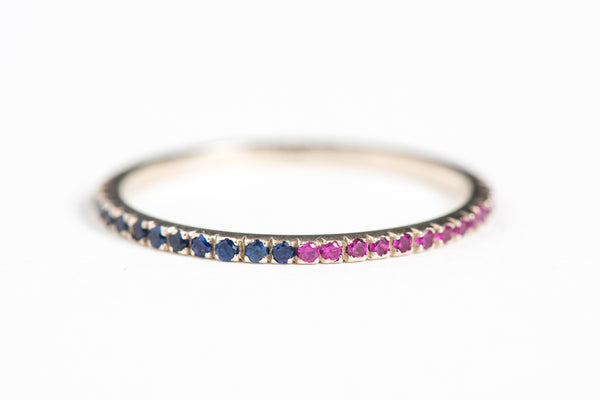 Celebrate - Micropavé Sapphire and Ruby Stackable Gold Ring
