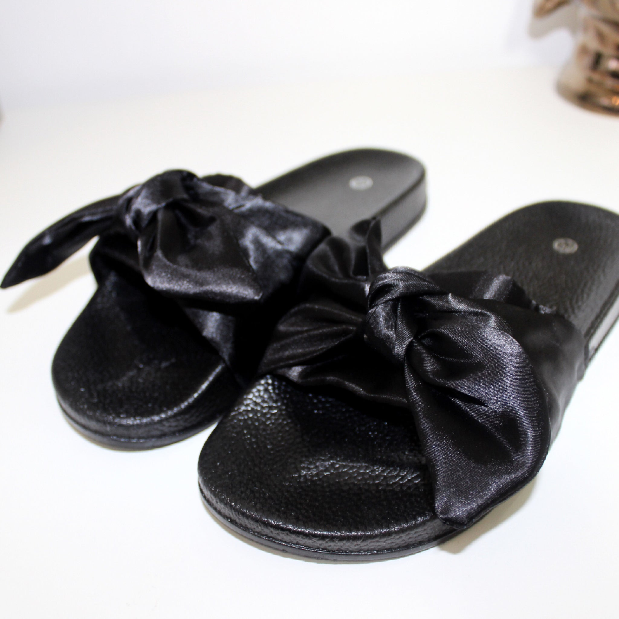 Pussy Bow Satin Sliders in Black