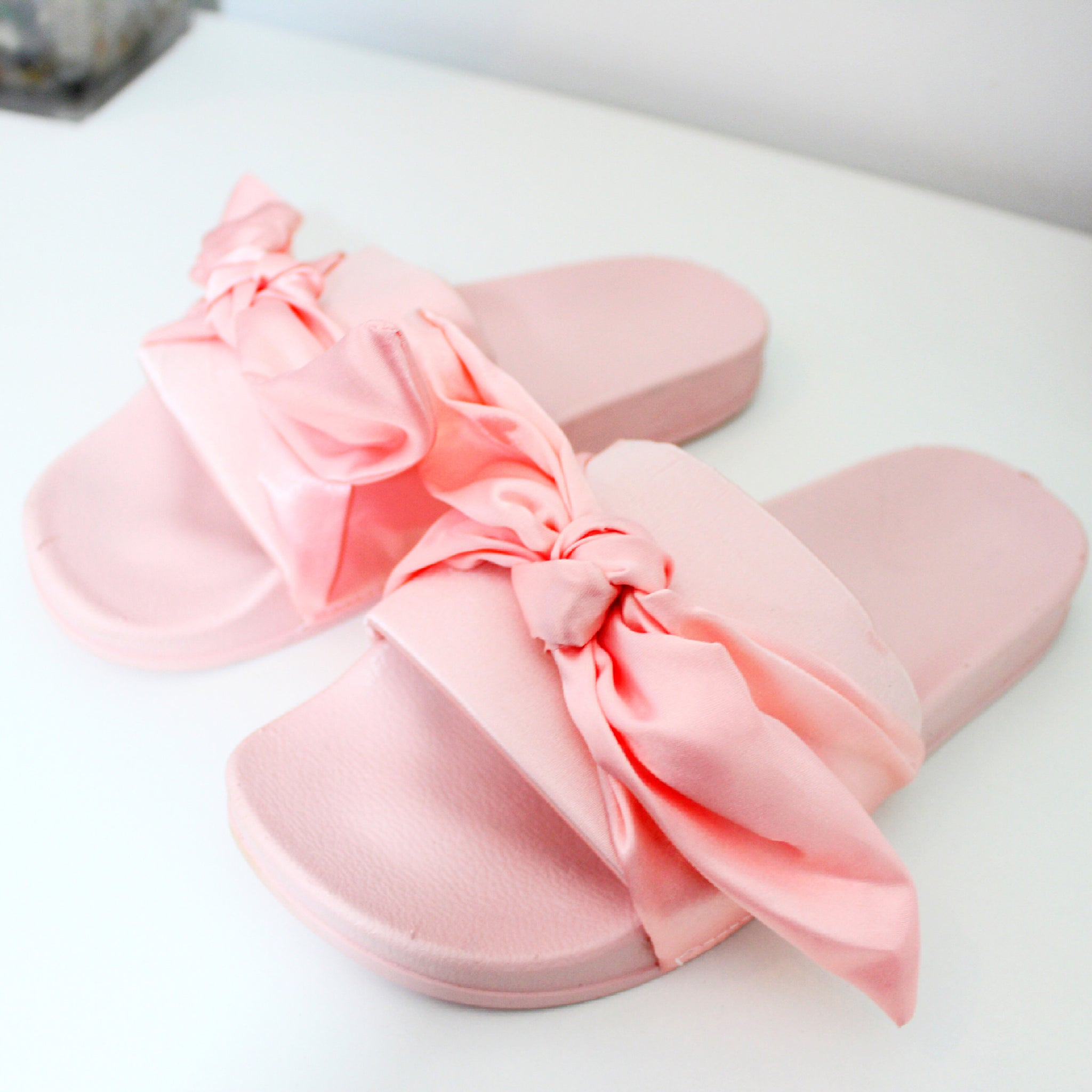 Pussy Bow Satin Sliders in Pink