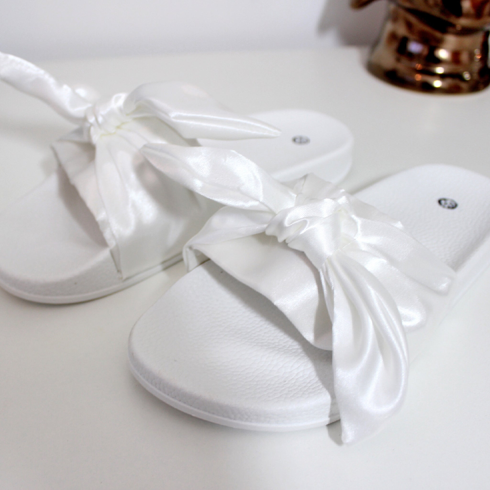 Pussy Bow Satin Sliders in White