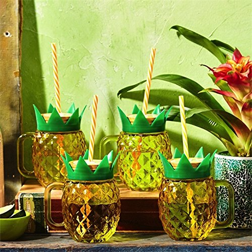 Pineapple Mason Jar Cups w Straws Set of 4 by