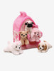 Plush Toy Doghouse with 5 Puppies for Boys and Girls