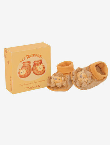 Les Zazous Lion Baby Slippers, 0-6 Months