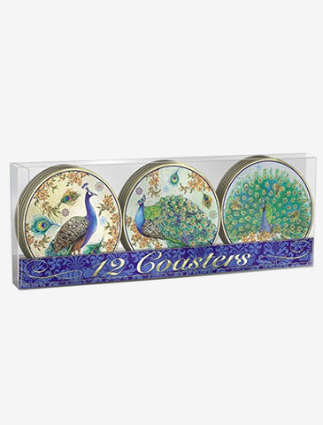 12 Pc. Set-Royal Peacock Coasters