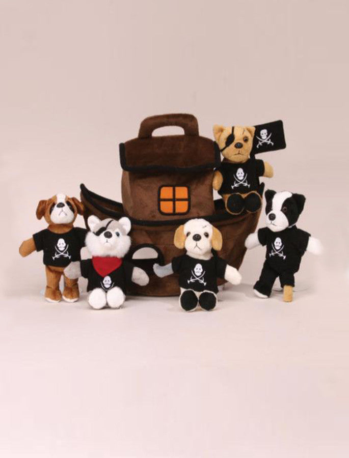 Pirate Boat House with 5 Detachable Little Puppies