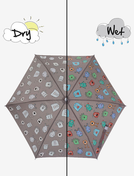 Holly and Beau Magic Hooded Rain Umbrella with Color Technology- Gray Monster