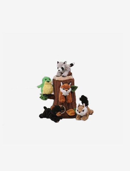TREEHOUSE WITH 5 STUFFED FOREST ANIMALS