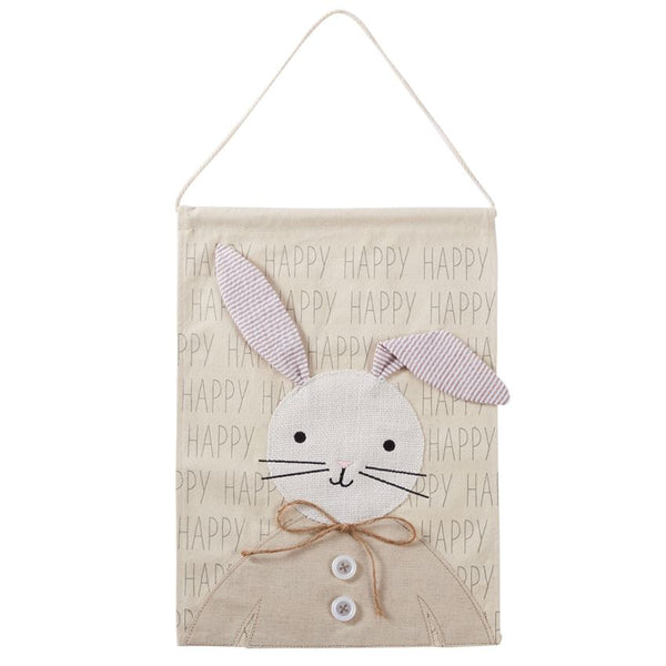 MUD PIE HAPPY BUNNY DOOR HANGER (16.50 Inches x 12 Inches )