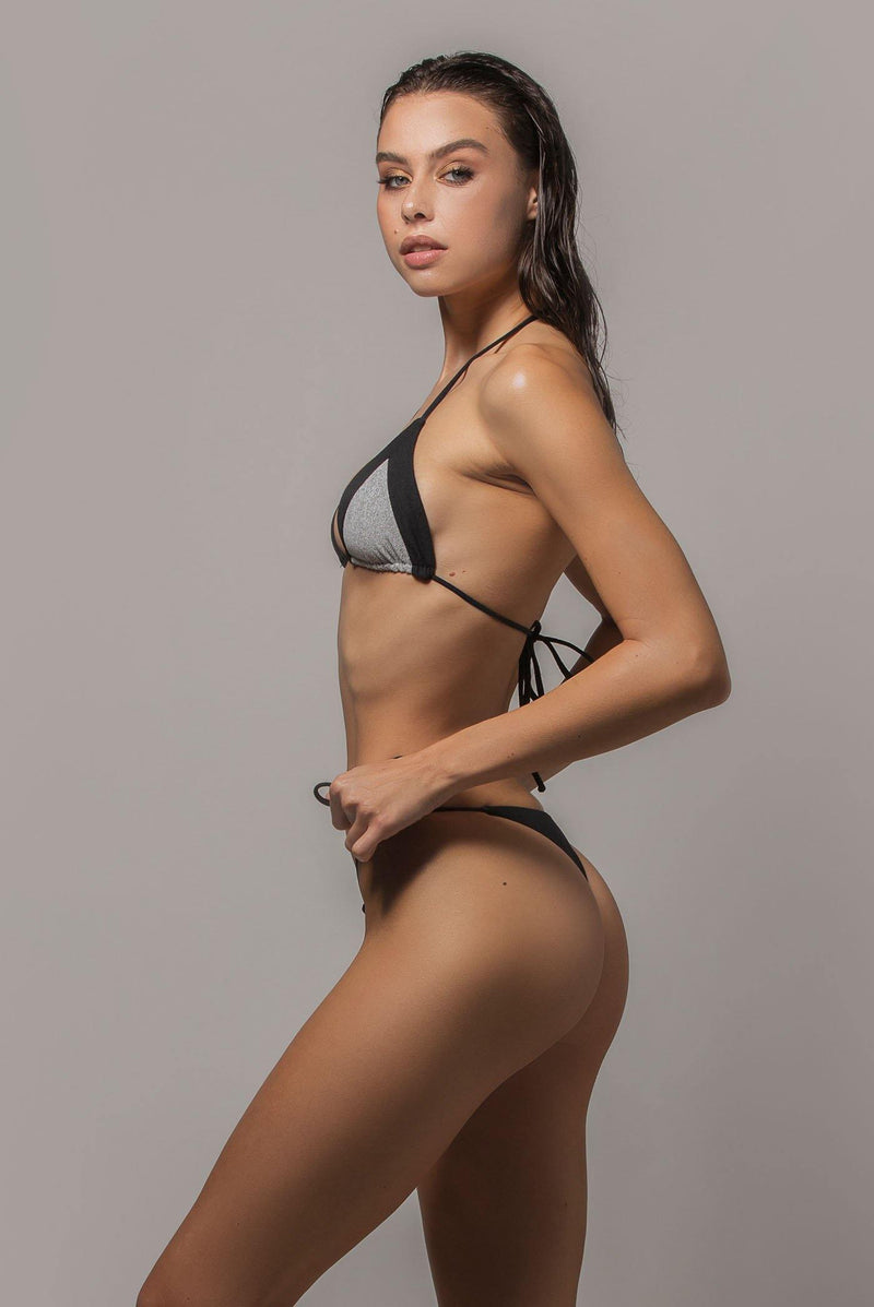 Ayra swim cheeky side tie bikini bottom in black side