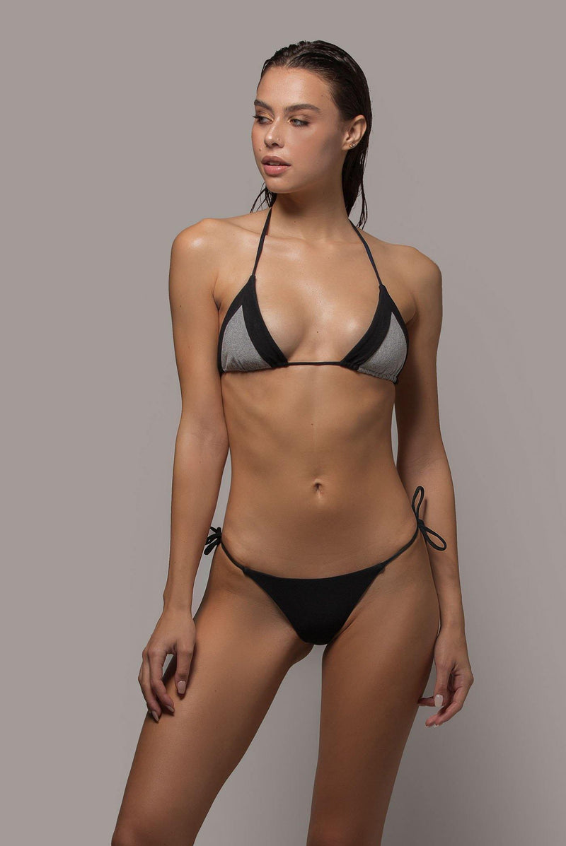 Ayra swim cheeky side tie bikini bottom in black front