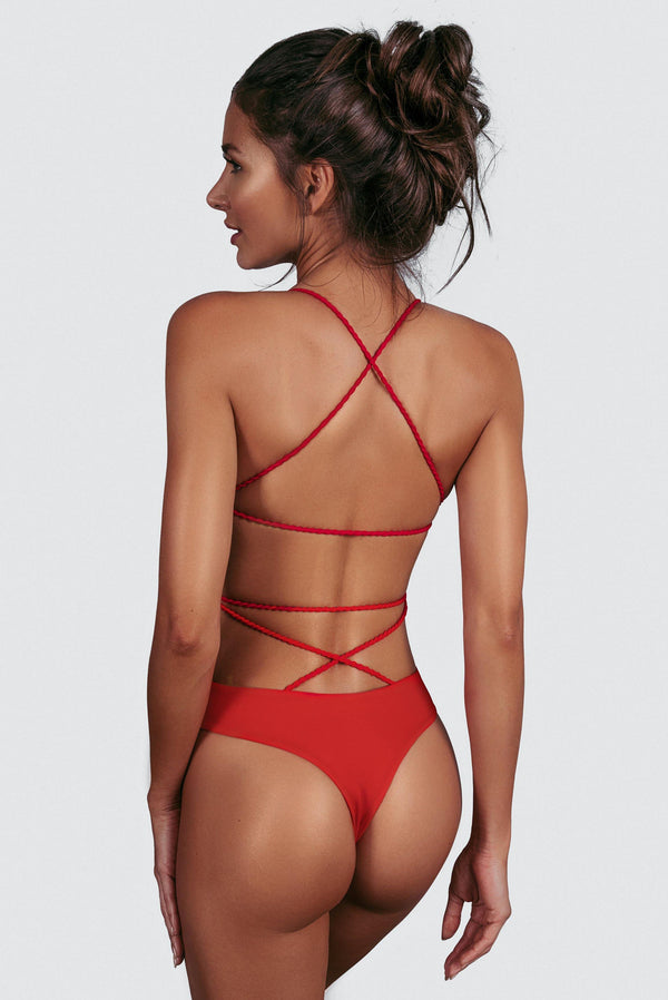 CHEEKY ONE PIECE PANAMA RED BACK