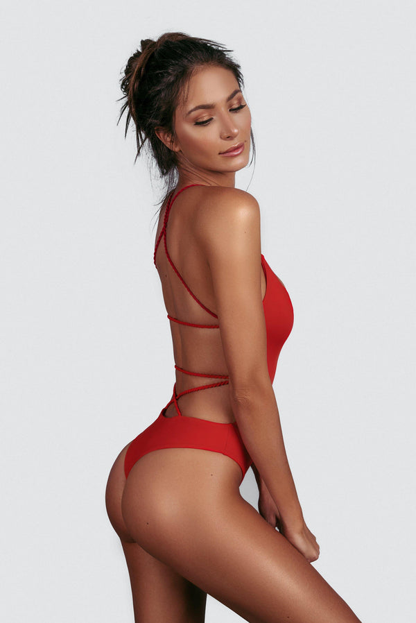 CHEEKY ONE PIECE PANAMA RED SIDE