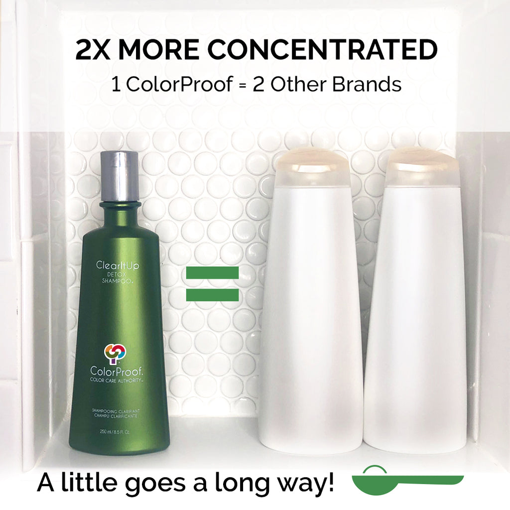 ColorProof shampoos and conditioner contain 2x more concentration compared to other brands.