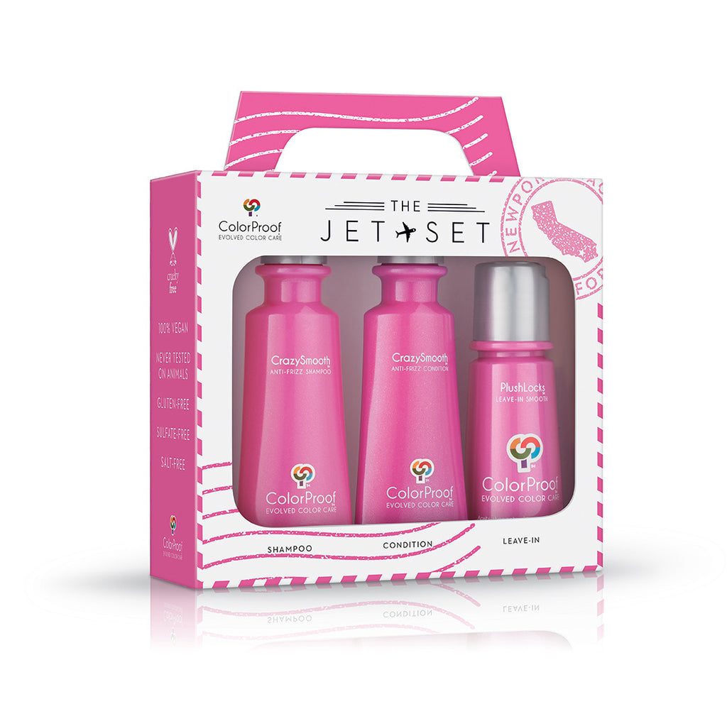 CrazySmooth® JetSet 3 product kit. Shampoo, Conditioner and leave in treatment.