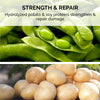 Hydrolyzed potato and soy proteins strengthen and repair damage.