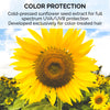Cold-pressed sunflower seed extract for full spectrum UVA/UVB protection. Developed exclusively for color-treated hair.