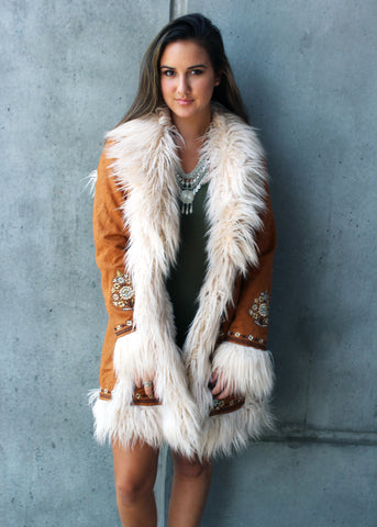 joplin faux fur embroidered jacket spell gypsy collective