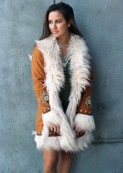 joplin jacket spell gypsy collective faux fur embroidered