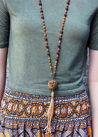 Bone and Lava Tassel Necklace
