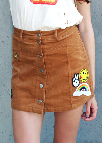 Patches Corduroy Mini Skirt