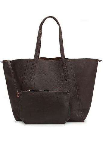 Brown Niigata Reversible Tote Bag with Metallic Finish