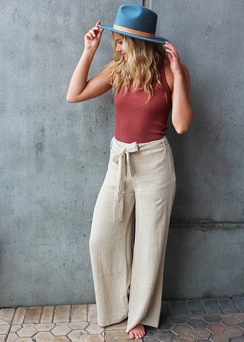 high waisted linen wide left pants