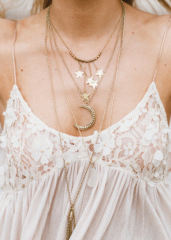 moon quartz tassel necklace