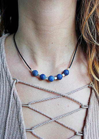 sterling silver and blue agate on leather cord