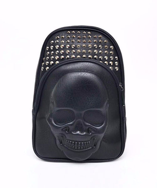 Skull Embossed Leather Backpack