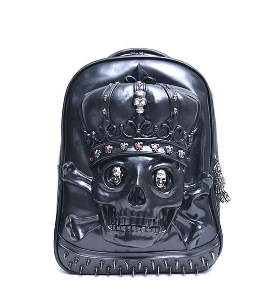 Embossed Skull Leather Backpack