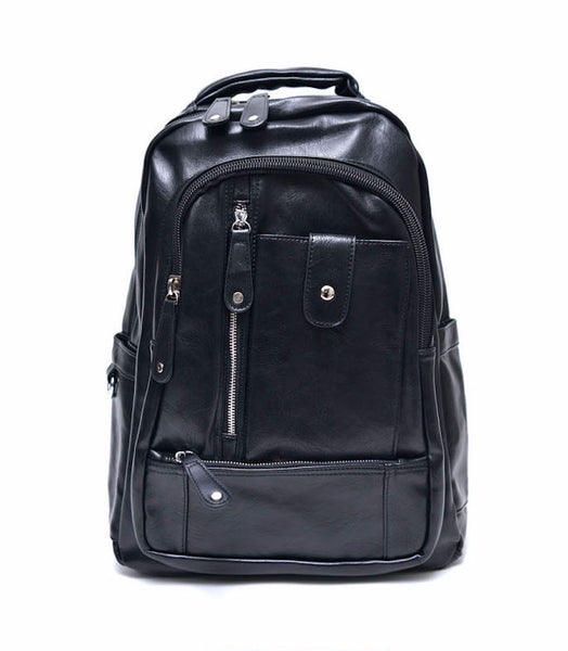 Multiple Pocket Leather Backpack
