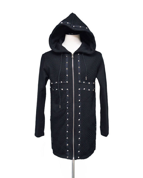 Stud Mesh Long Zip-up-Hoodie