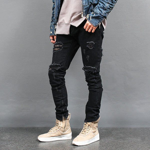 Ripped Zipper Hem Black Jeans