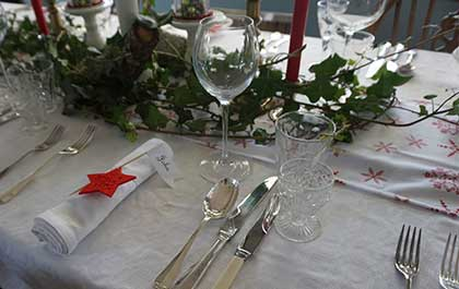 Table with Christmas Decorations